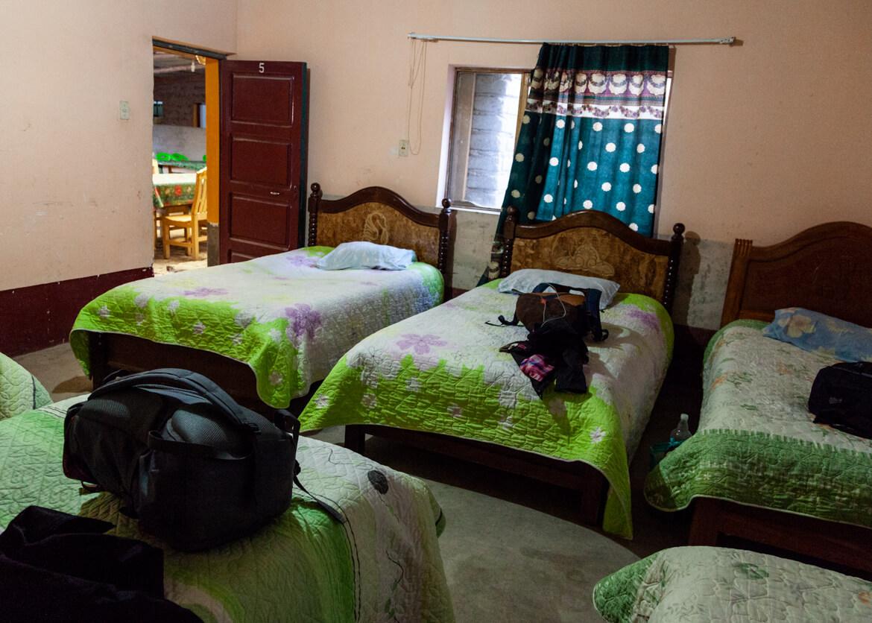 Dormitório do alojamento da primeira noite de travessia do Salar de Uyuni - dividimos o quarto com o nosso grupo