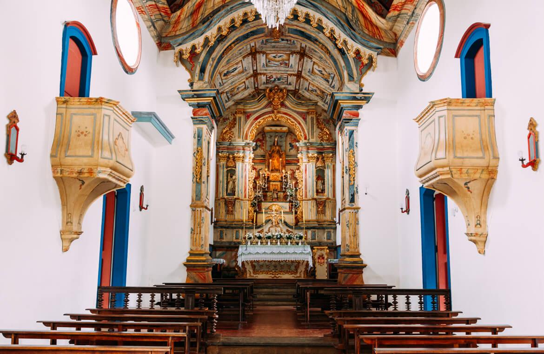 Tiradentes MG: Interior da Igreja Nossa Senhora das Mercês