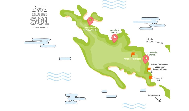 Isla del Sol - mapa da ilha