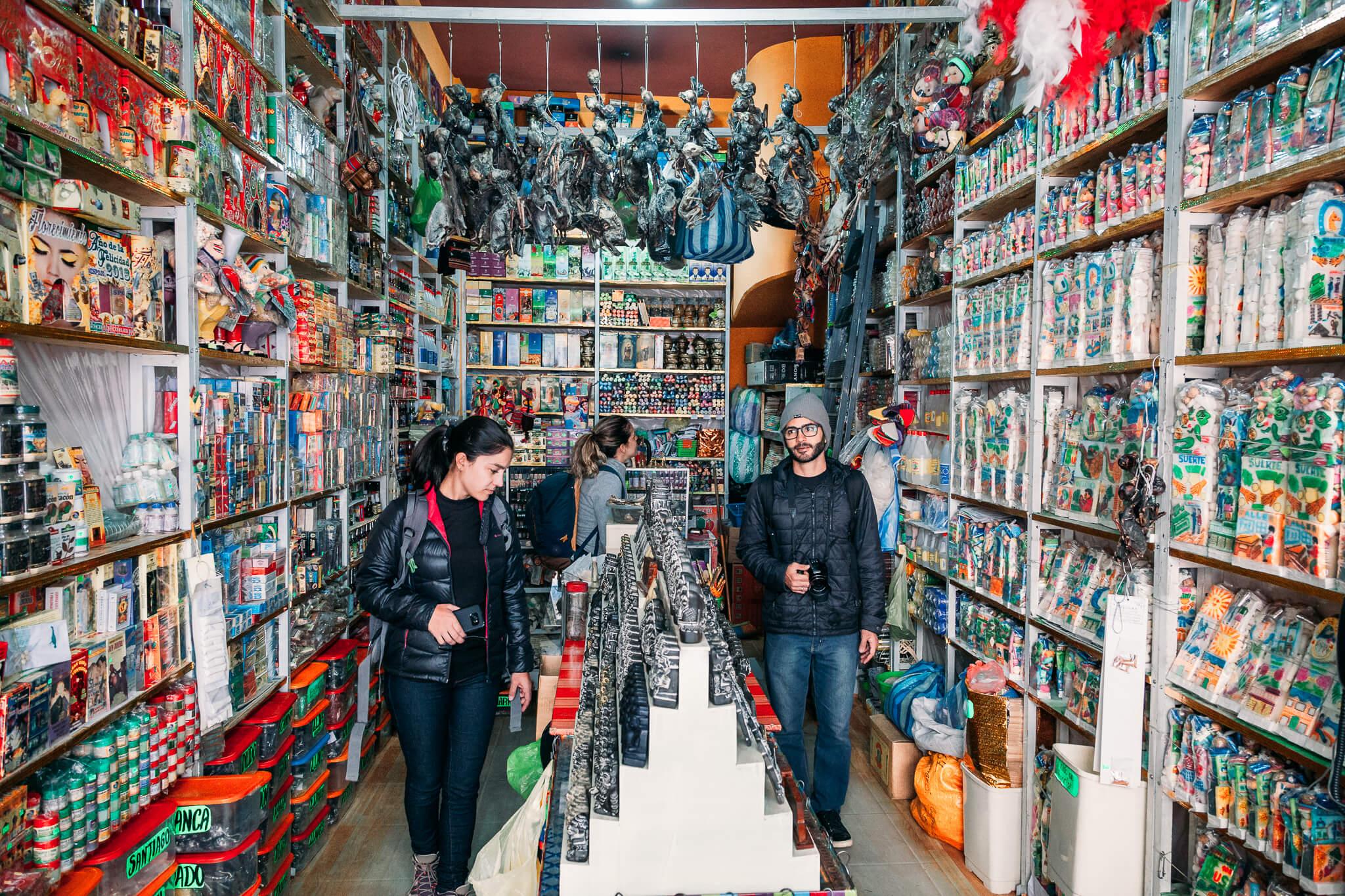 Uma das lojas do Mercado das Bruxas de La Paz