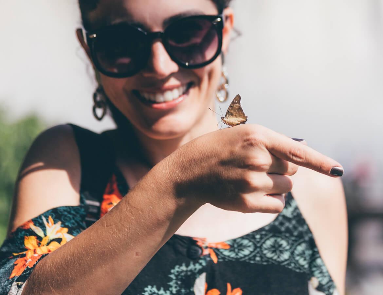 Nas Cataratas do Iguaçu, é muito comum as borboletas pousarem na gente
