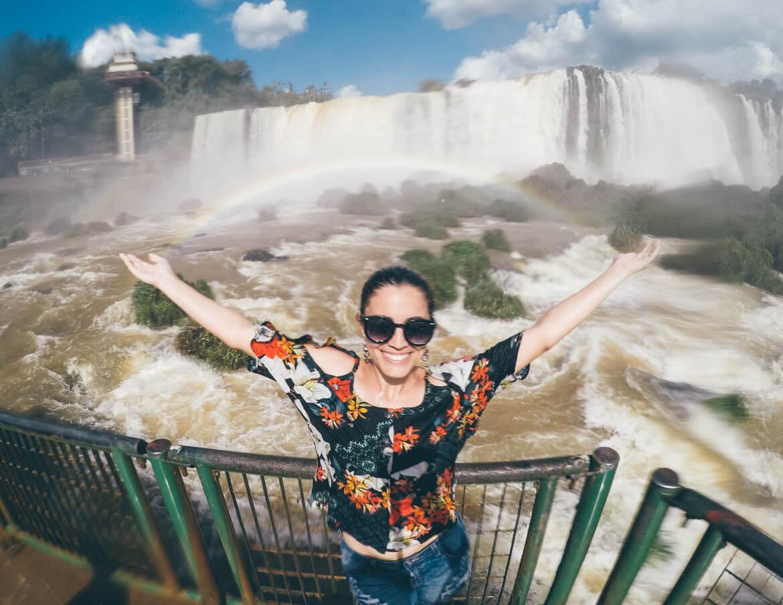 Foto tirada com uma GoPro na passarela sobre o rio Iguaçu