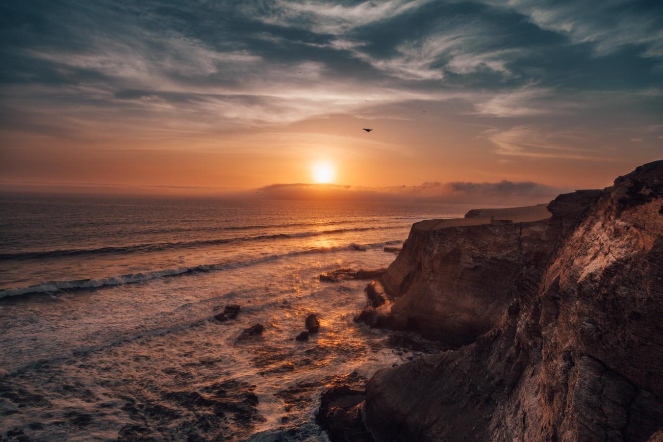 Por do sol na Reserva Nacional de Paracas