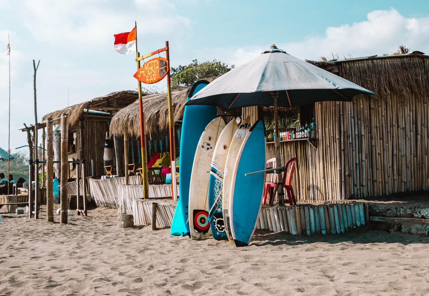 Praia em Canggu, ilha de Bali