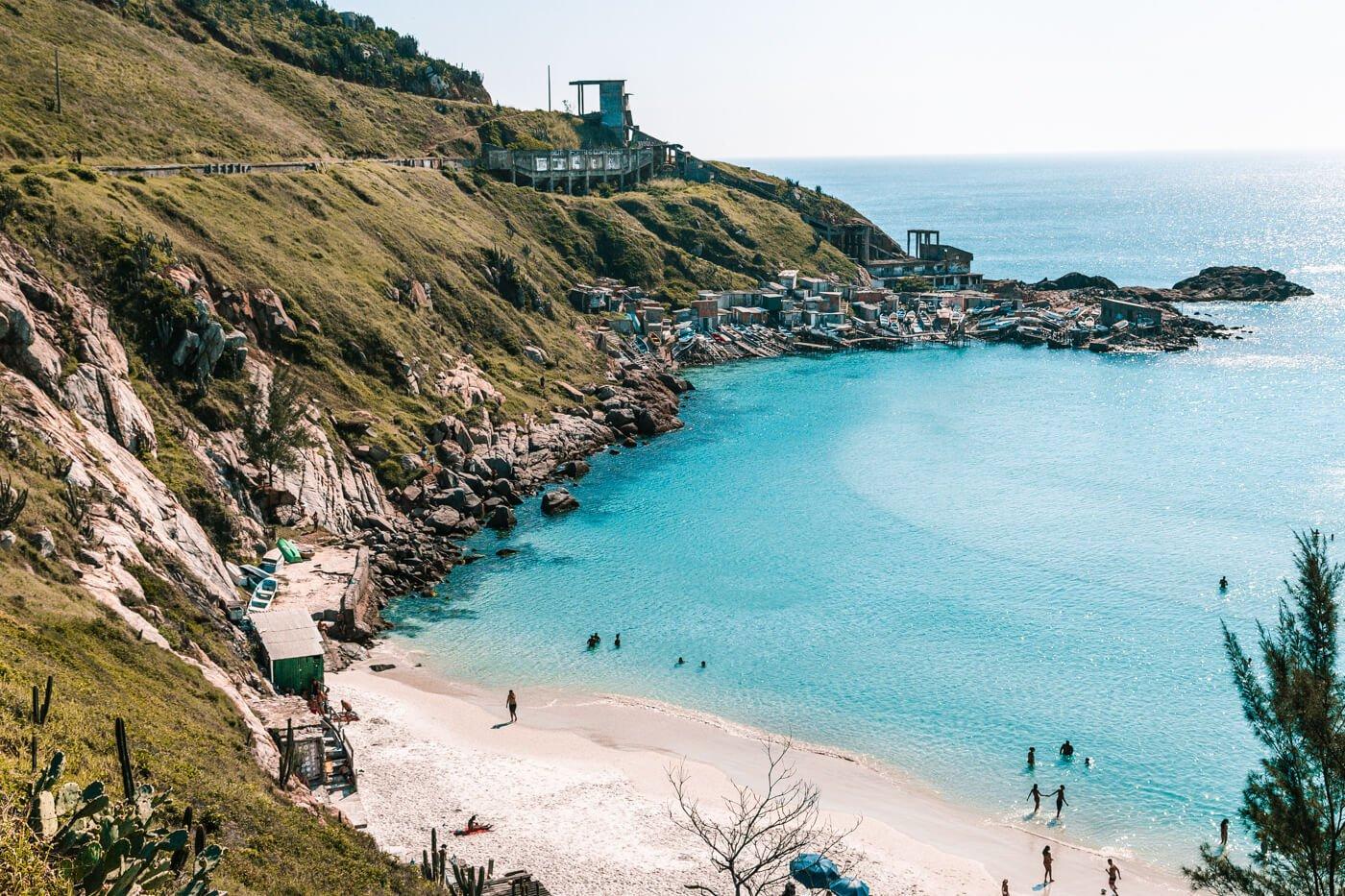 Canto esquerdo da Praia Grande, onde está o Deck dos Pescadores e a Janela do Paraíso