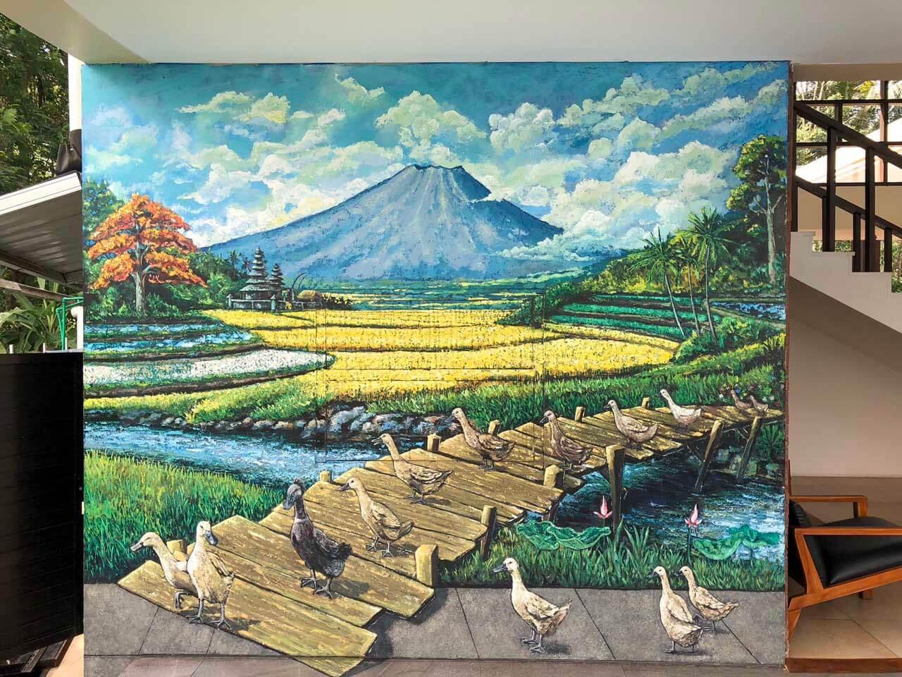 Pintura na parede do UbudOne Villas