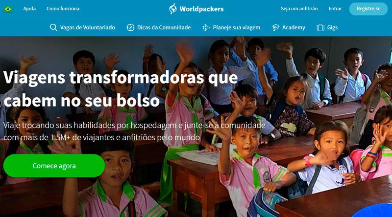 Pagina inicial do site da Worldpackers Brasil
