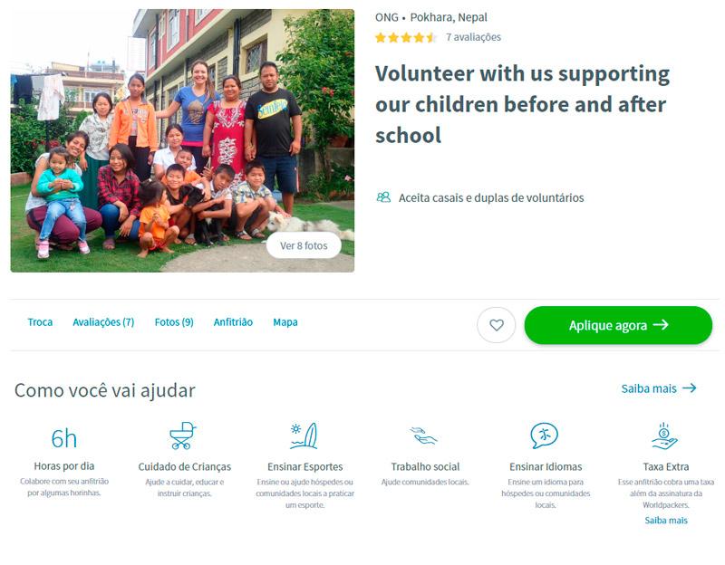 Vaga de trabalho voluntário na Worldpackers