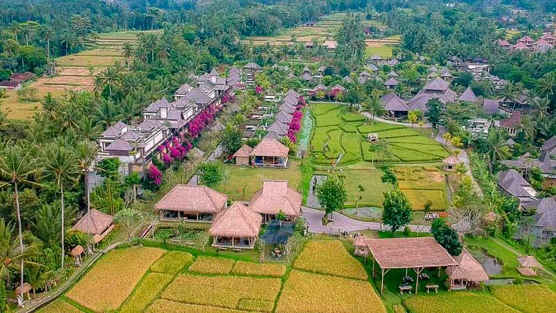 Onde ficar em Ubud: foto aérea do Visesa resort.