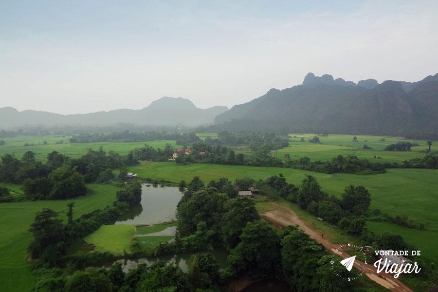Vang Vieng Laos - Vista do voo de balao