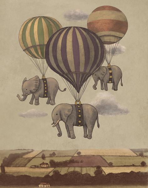Vang Vieng - ilustracao de baloes e elefantes no Laos