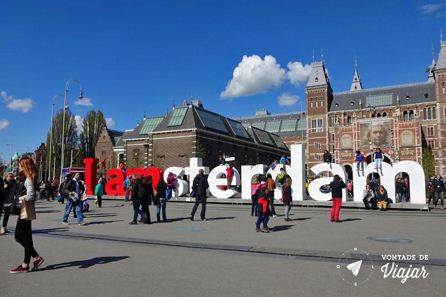 Dicas da Holanda - Letreiro na Praca dos Museus