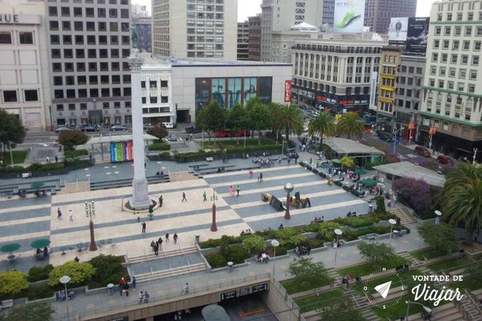 California - Union Square vista da Cheesecake Factory da Macys San Francisco
