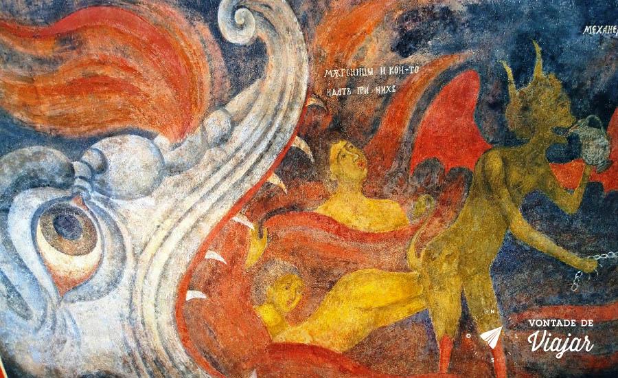 Viagem a Bulgaria - Pintura do Inferno no Mosteiro de Rila