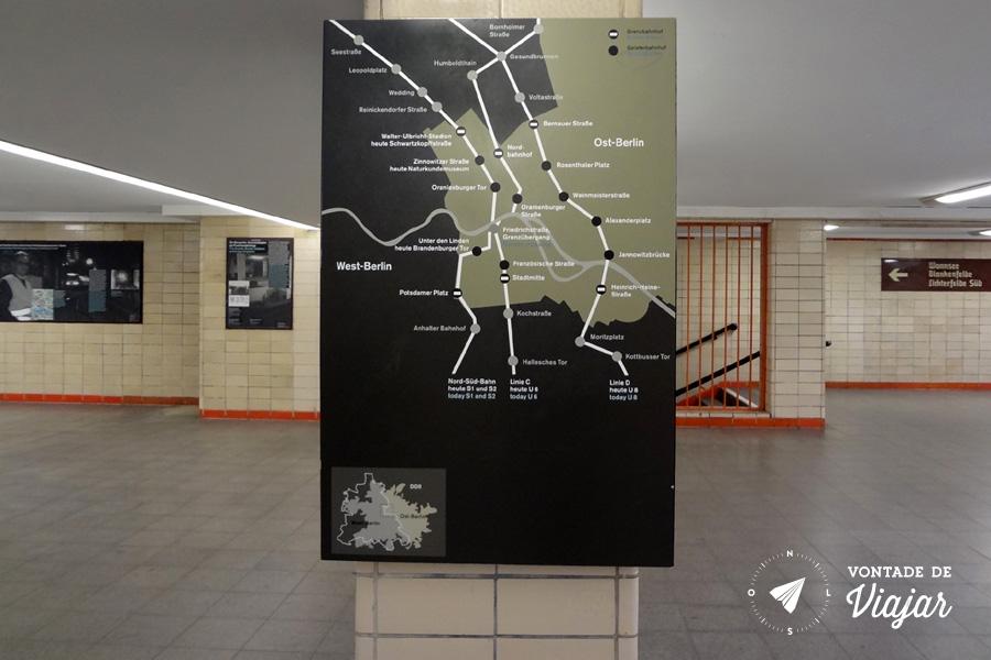 Estacoes fantasmas de Berlim - Mapa das linhas que cruzavam Berlim Ocidental