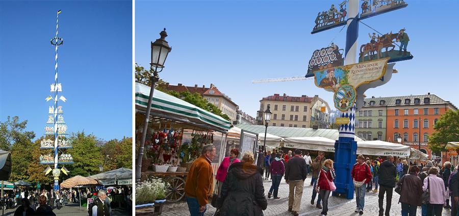 Viktualienmarkt - Maibaum de Munique - fotos do blog Historias da Di e Wikimedia Commons