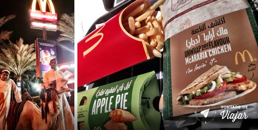 Aqaba Jordania - Sanduiche McArabia e camelo em frente ao McDonalds da Jordania