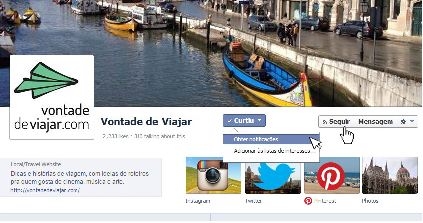 Notificacao na pagina do Facebook