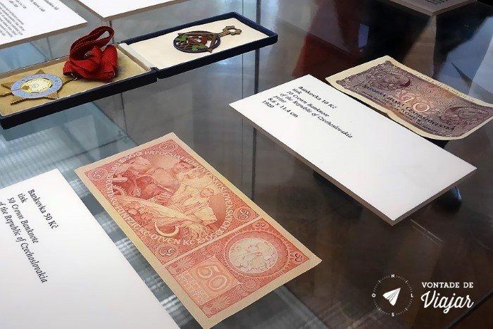 Museu Mucha Praga - Cedulas de dinheiro da Tchecoslovaquia