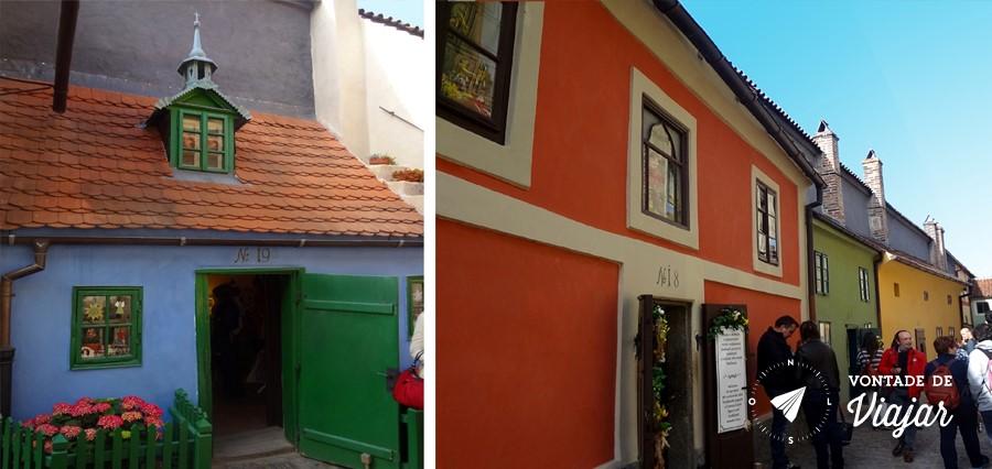 Casas coloridas na Golden Lane, a rua medieval mais pitoresca do Castelo de Praga