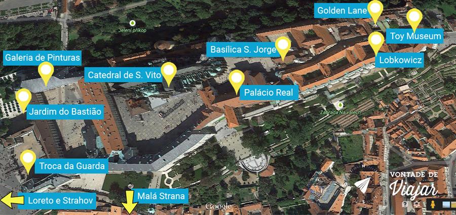 Mapa de atrações do Castelo de Praga