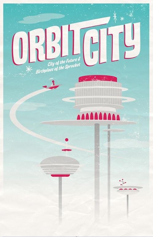 Poster de viagem - Jetsons Orbit City - Adam Limbert