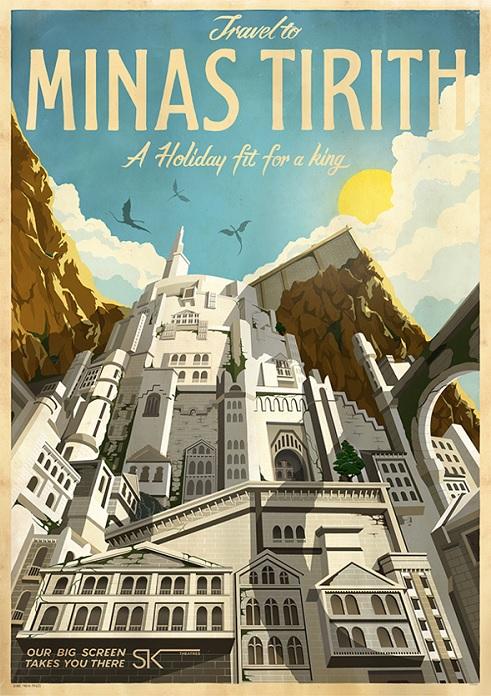 Poster de viagem - Senhor dos Aneis Minas Tirith - Studio Muti