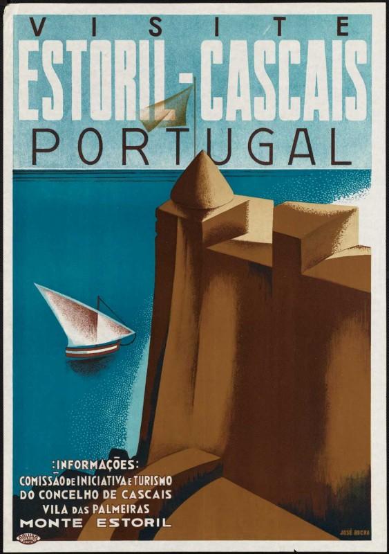 Poster de viagem retro - Portugal - Estoril e Cascais