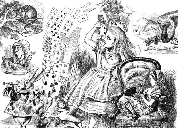 Cartoon Museum Londres - Ilustracao de Alice no Pais das Maravilhas por John Tenniel