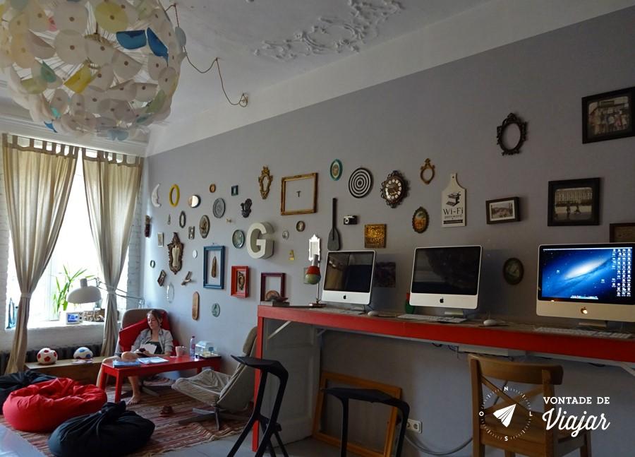 Hostel em Sao Petersburgo - Lounge e computadores
