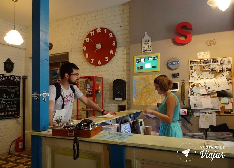Hostel em Sao Petersburgo - Recepcao do Soul Kitchen