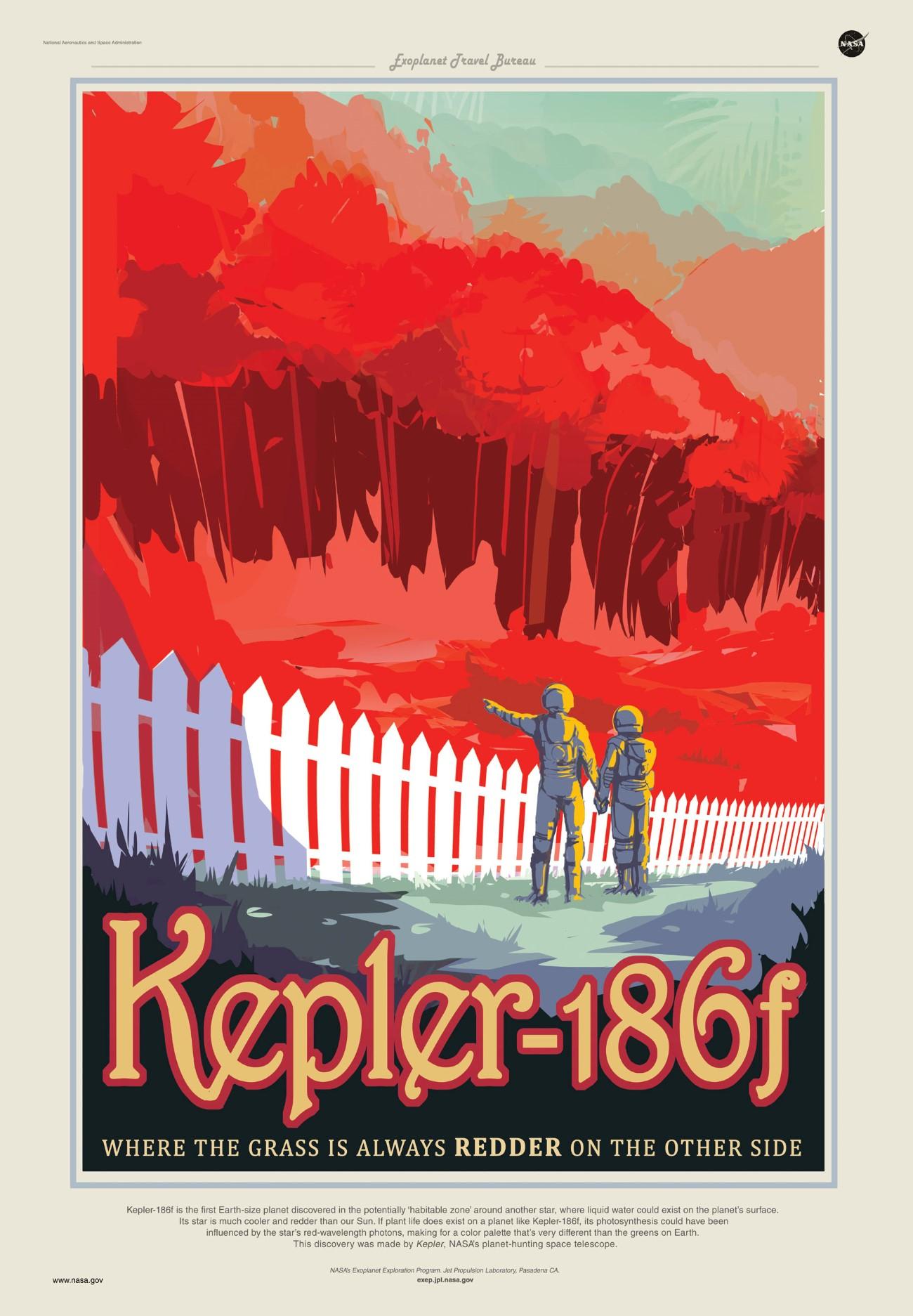 Poster viagem no espaco - NASA Kepler_186f