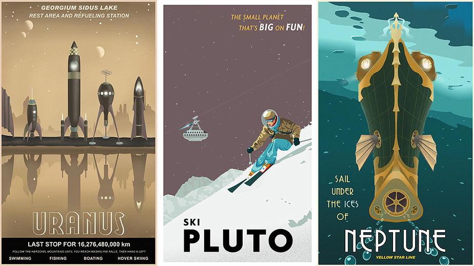 Poster viagem no espaco - Steve Thomas - Viagem a Urano Plutao Netuno