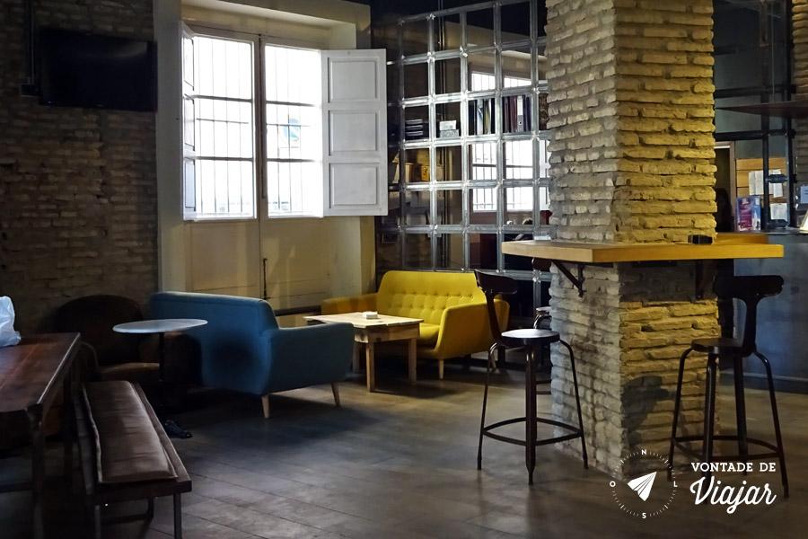 Hostel em Sevilha - Lounge do albergue