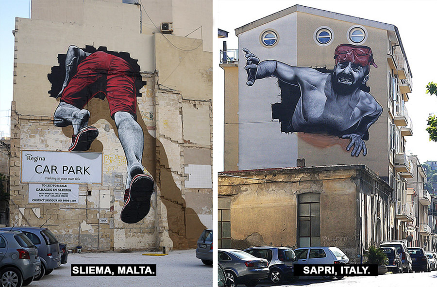 Malta Street Art - Graffiti Malta Italia The Mediterranean Tunnel MTO