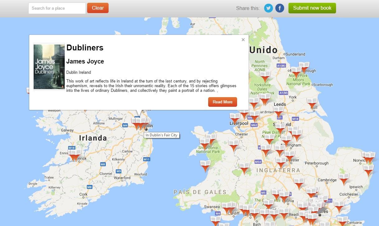 Mapa Literario - Google Map de Livros - Lovereading
