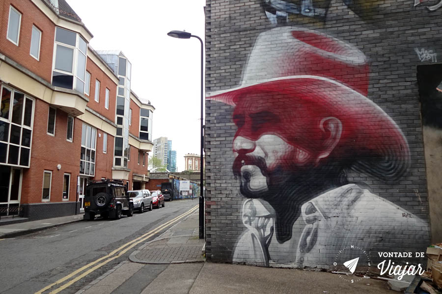 Street art Londres - graffiti cowboy do artista El Mac de LA