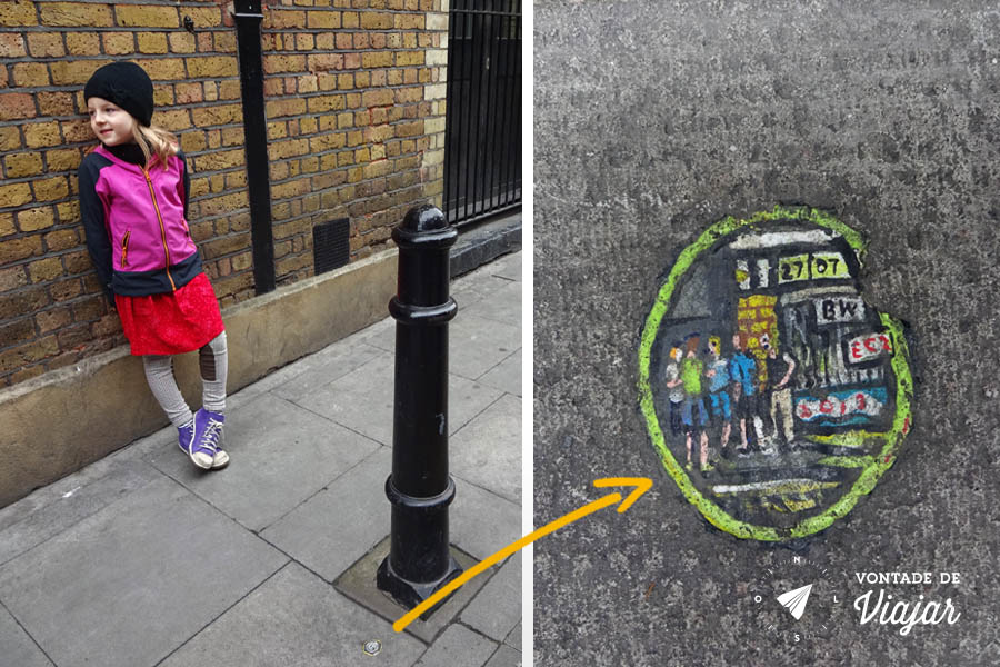 Street art Londres - miniatura no chiclete do artista Chewing Gum Man