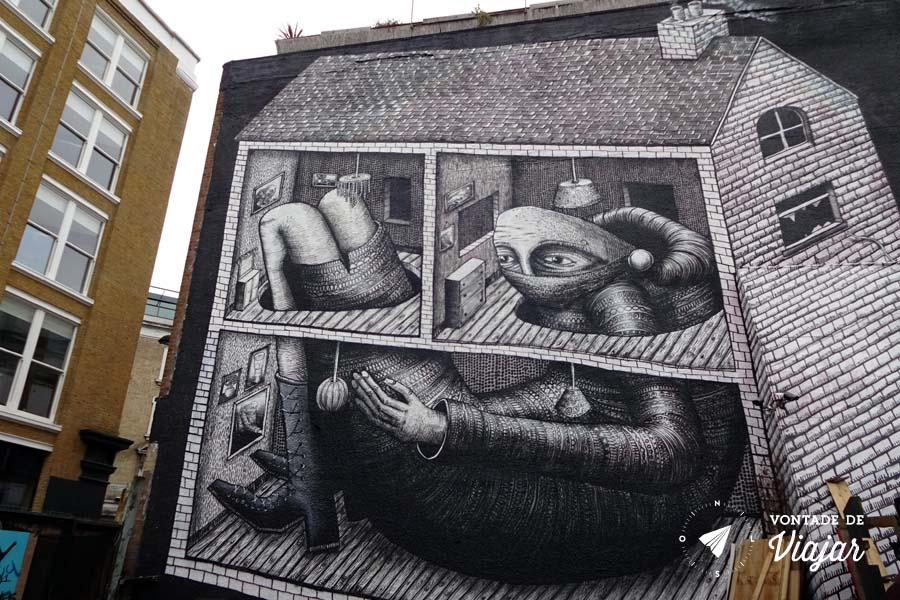 Street art Londres - mural do artista britanico Phlegm em Shoreditch