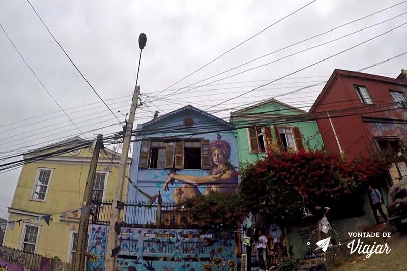 Street art em Valparaiso - Casas coloridas