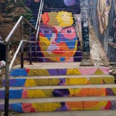 Street art em Valparaiso - Graffiti na escada Chile