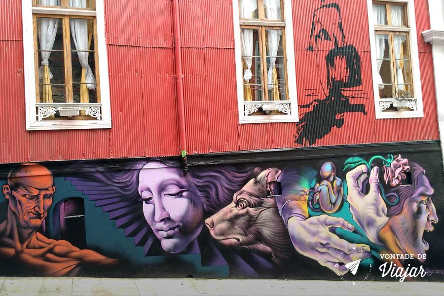 Street art em Valparaiso - Mural de Diego Cacamut na Calle Urriola
