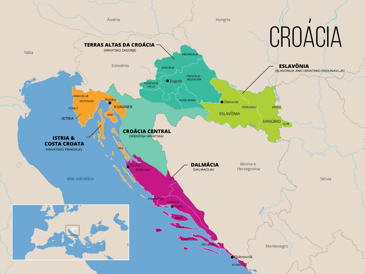 Mapa da Croacia - original Wine Folly adaptacao em portugues Vontade de Viajar