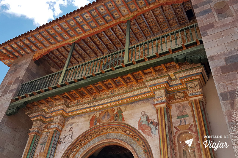 Igreja Andahuaylillas Peru - Fachada com pintura influencia mudejar