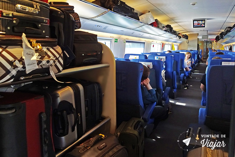 Trem na Europa - Bagageiro no trem