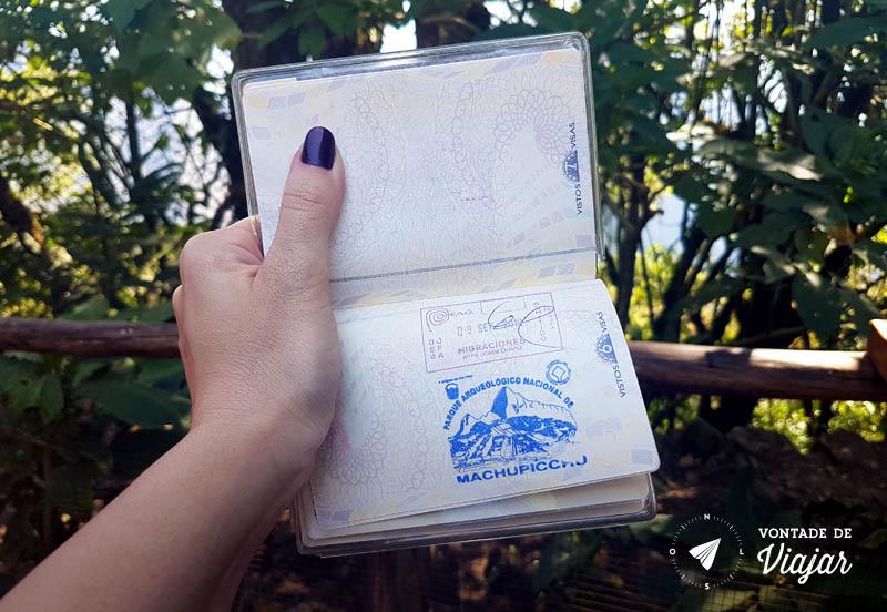 Peru - Carimbo de Machu Picchu no passaporte