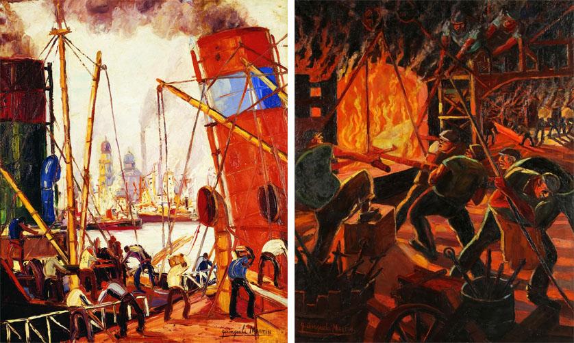Quadros do pintor argentino Quinquela Martin: Chimeneas (1930) e Fundicion de acero (1944)